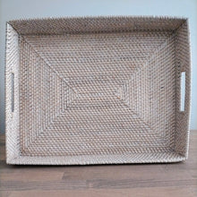 Load image into Gallery viewer, Rattan Whitewash Rectangular Trays