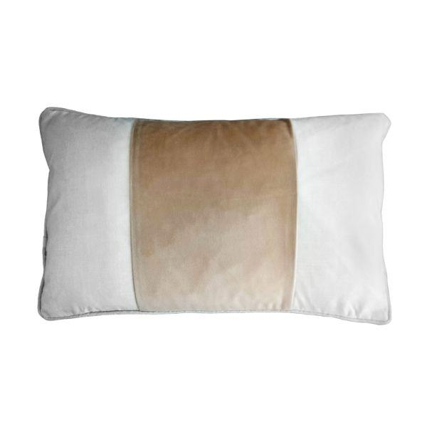 FIONA Beige and White Panel Velvet Oblong Cushion Cover