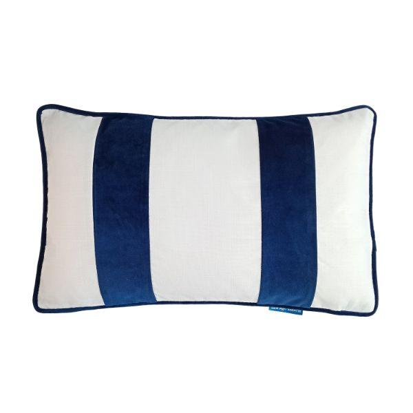 FIONA White and Dark Blue Velvet Twin Strip Cushion Cover