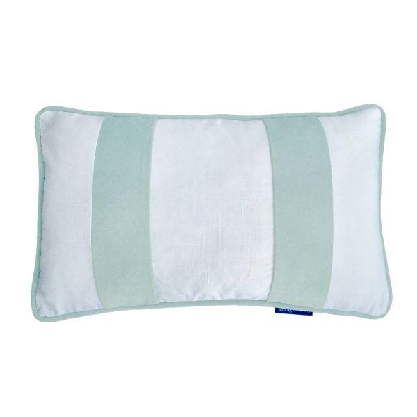 FIONA Duck Egg Blue Velvet Twin Strip Oblong Cushion Cover