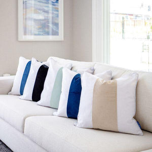 FIONA Beige and White Panel Velvet Cushion Cover