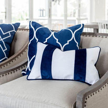 Load image into Gallery viewer, FIONA White and Dark Blue Velvet Twin Strip Cushion Cover