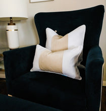 Load image into Gallery viewer, FIONA Beige and White Panel Velvet Oblong Cushion Cover