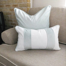 Load image into Gallery viewer, FIONA Duck Egg Blue Velvet Twin Strip Oblong Cushion Cover