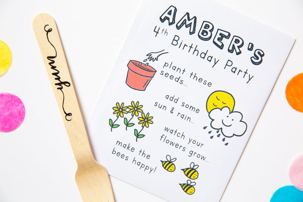 Happy Bee Wildflower Seed Birthday Party Favours