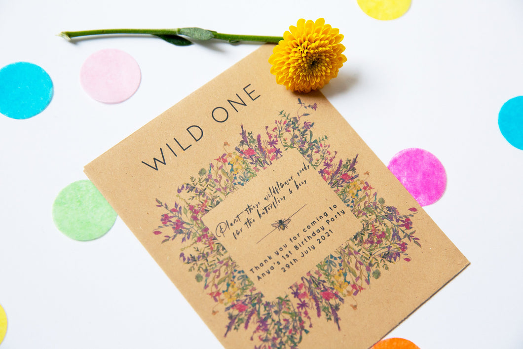 Wild Years Wildflower Seed Packet Party Favours
