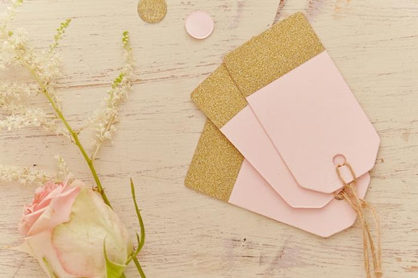 Pack of 12 Pink & Glitter-Gold Luggage Tags