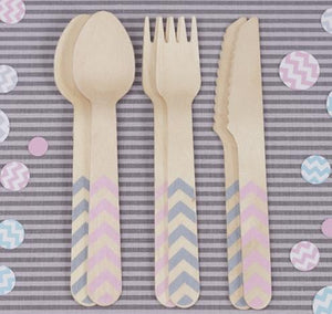 Pink & Grey Chevron Wooden Cutlery Set