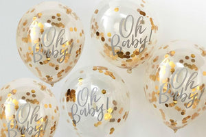 Oh Baby! Gold Confetti Baby Shower Balloons