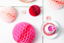 Set of 3 Rouge Tissue Paper Honeycomb Balls
