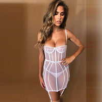 Mesh Hollow Out See Through  Mini Dress