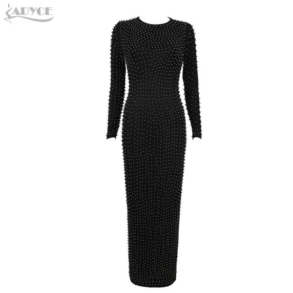 Luxury Pearls Elegant Evening Party Dress