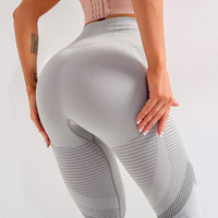 High Waist Seamless Patchwork Hollow Out Spandex Leggings