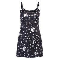 Gothic Vintage Moon Star Print Mini Bodycon Black Dress