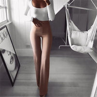High Waist Solid Slim Wide Leg Flare Trousers