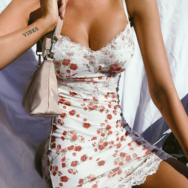 Floral Print Holiday Lace Sexy Slip Dress
