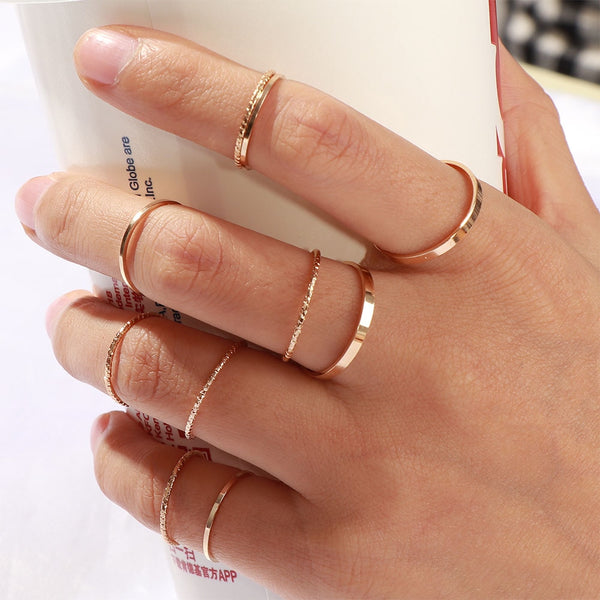 10 Pcs/Set Vintage Gold/Silver Joint Rings