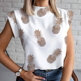 Elegant Gold Pineapple Print Blouse