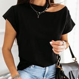 Women's Off Shoulder Short Sleeve Solid T shirt