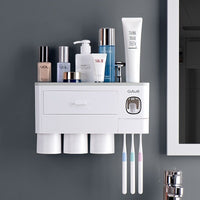 Bathroom Wall Mount Storage Rack / Toothbrush Holder / Automatic Toothpaste Dispenser