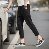 Casual Ankle-Length Plaid Trousers