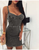 Denim Backless Solid Bodycon Dress