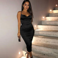 Satin Backless LaceUp Midi
