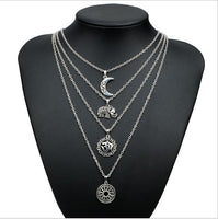 Vintage Multilayer Elephant Moon Long Necklaces