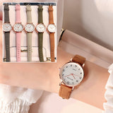 Womens Simple Vintage Small Dial Watch W/ Leather Strap