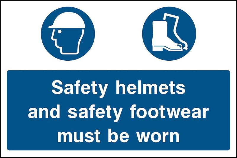 Wear Safety Helmets & Footwear Sign