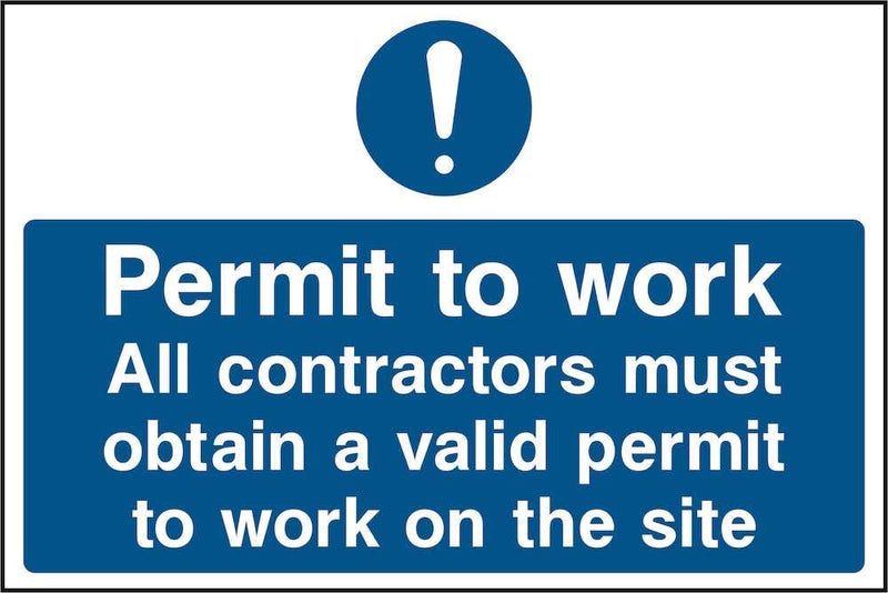 Contractors Permit to Work Sign | Elevate Signs