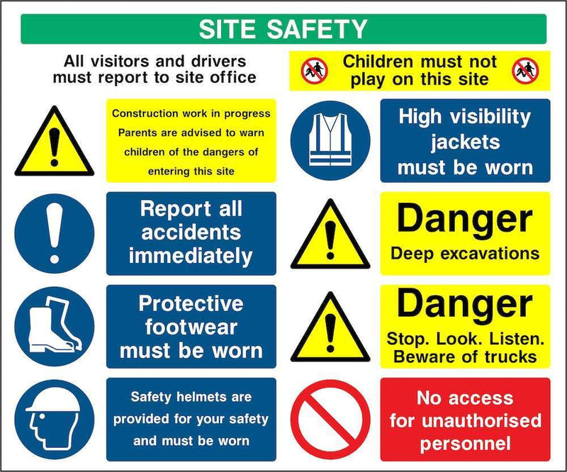 Excavations Multi-Hazard Site Safety Notice Sign | Elevate Signs