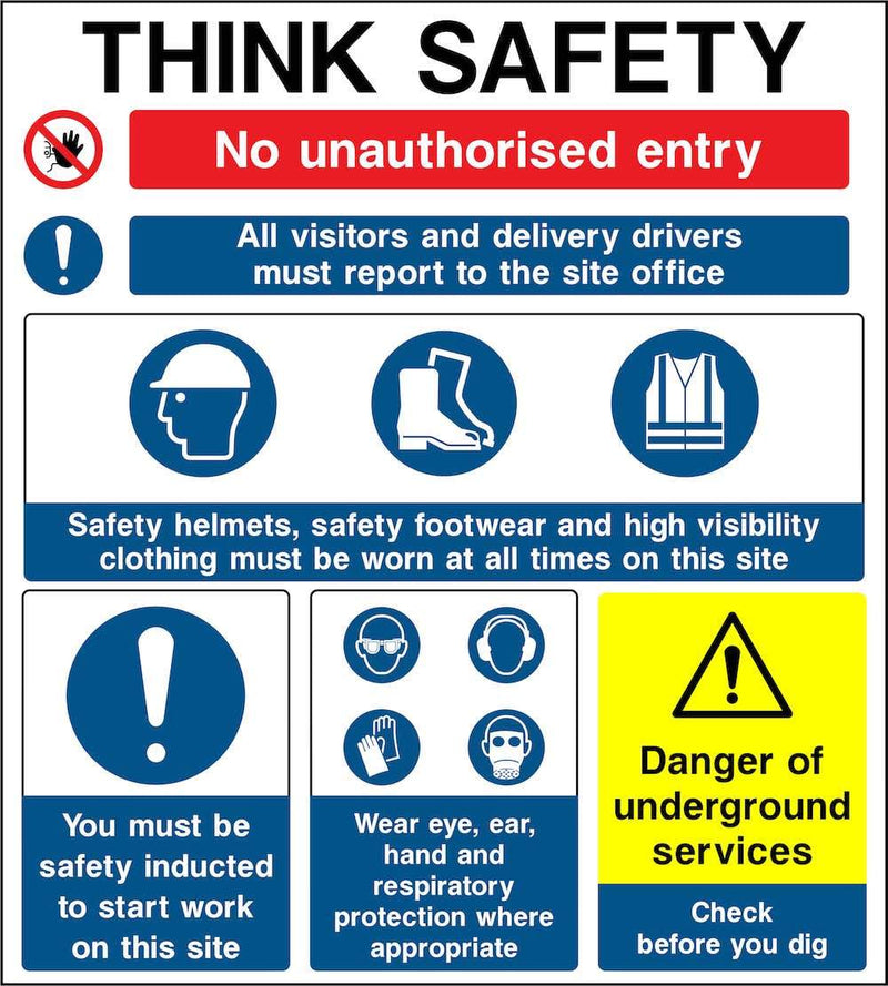 Think Safety, Multi-Hazard Notice Sign