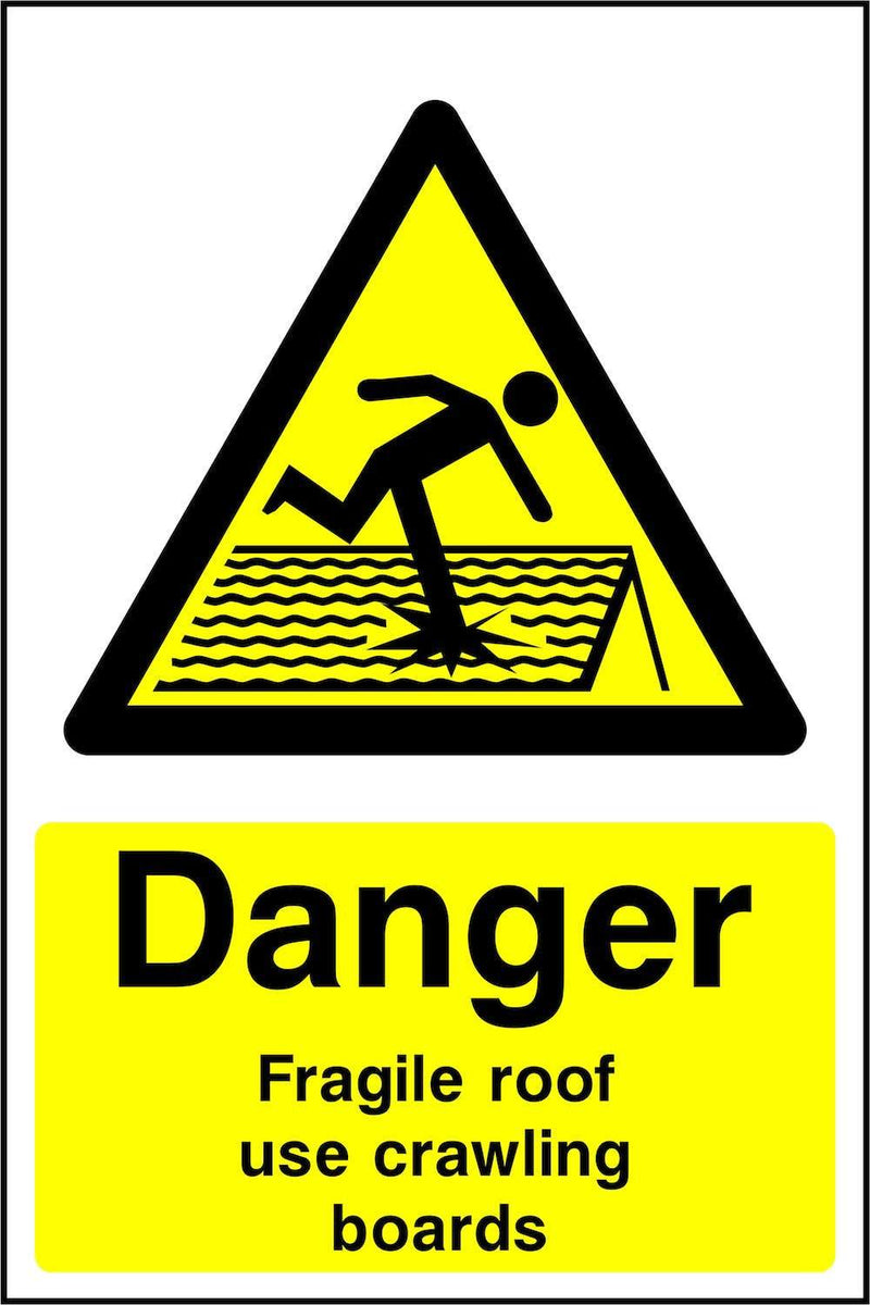 Danger: Fragile Roof, Use Crawling Boards Sign | Elevate Signs