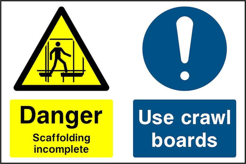 Scaffolding Incomplete: Use Crawl Boards Sign