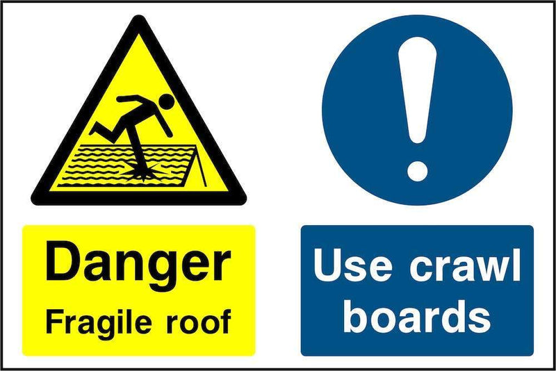 Fragile Roof: Use Crawl Boards Sign | Elevate Signs