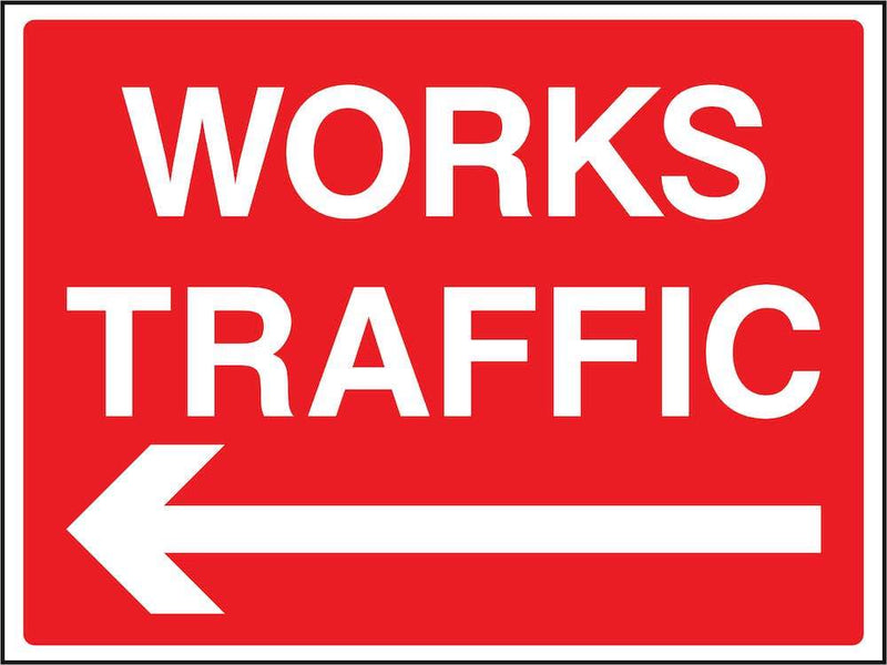 Works Traffic (Left Arrow) Sign