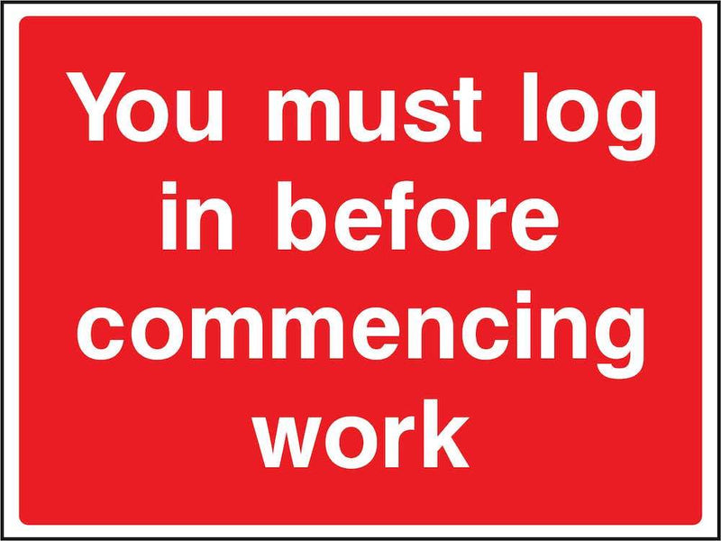 Log In Before Commencing Work Sign | Elevate Signs