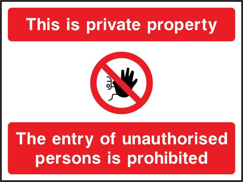 Private Property, No Unauthorised Entry Sign
