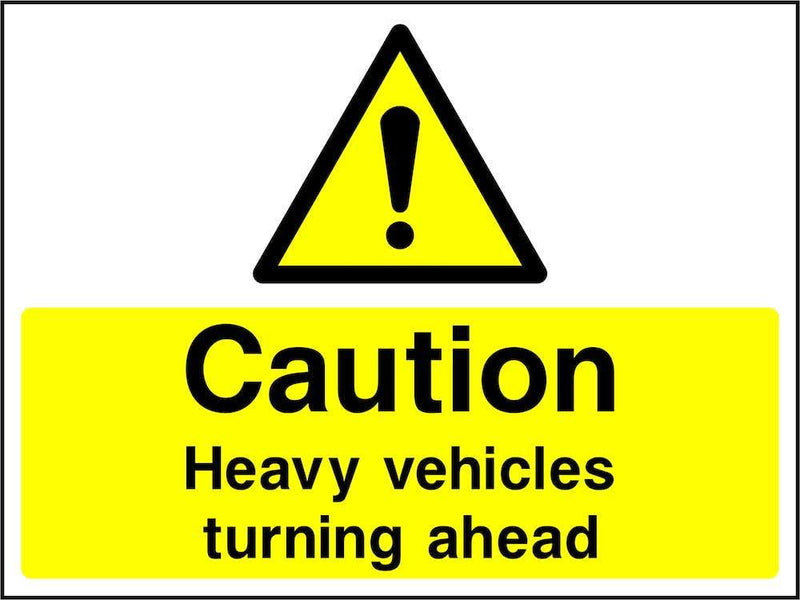 Caution: Heavy Vehicles Turning Ahead Sign | Elevate Signs