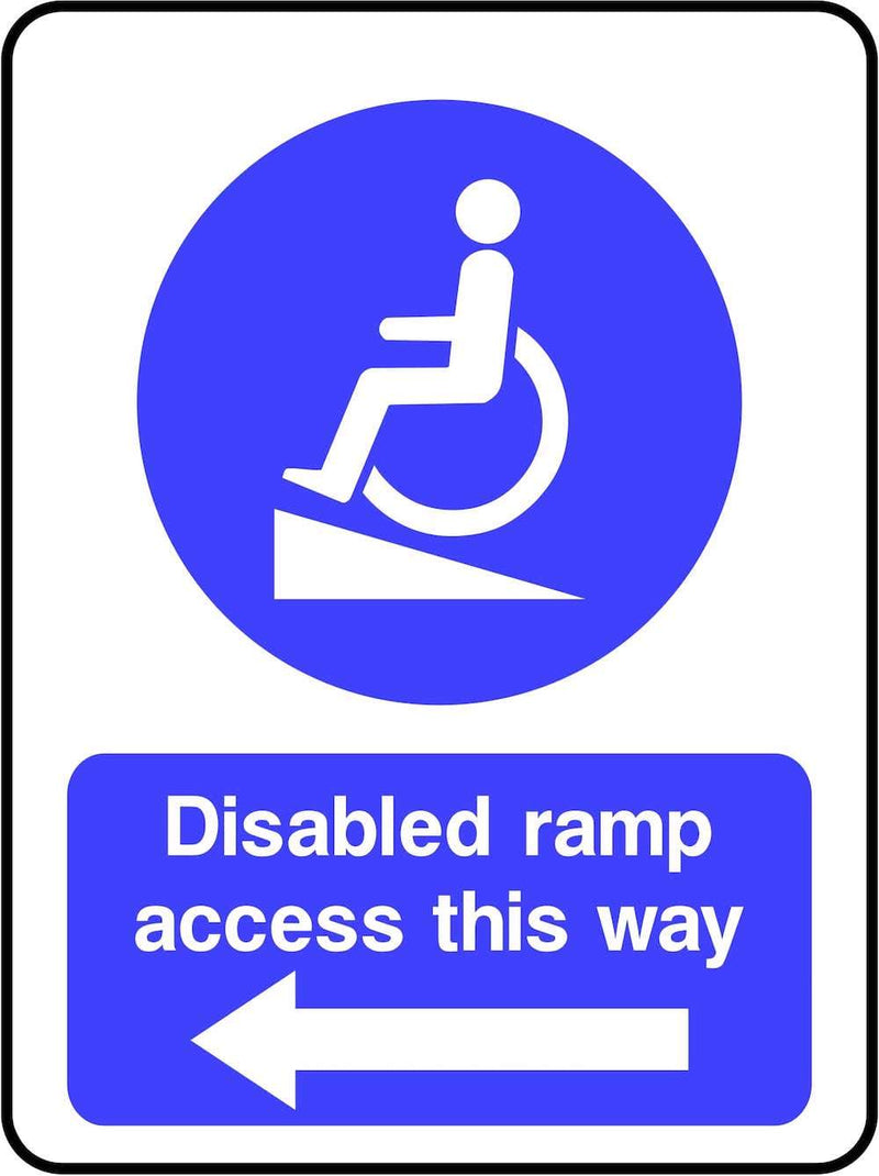 Disabled Ramp Access To The Left Sign | Elevate Signs