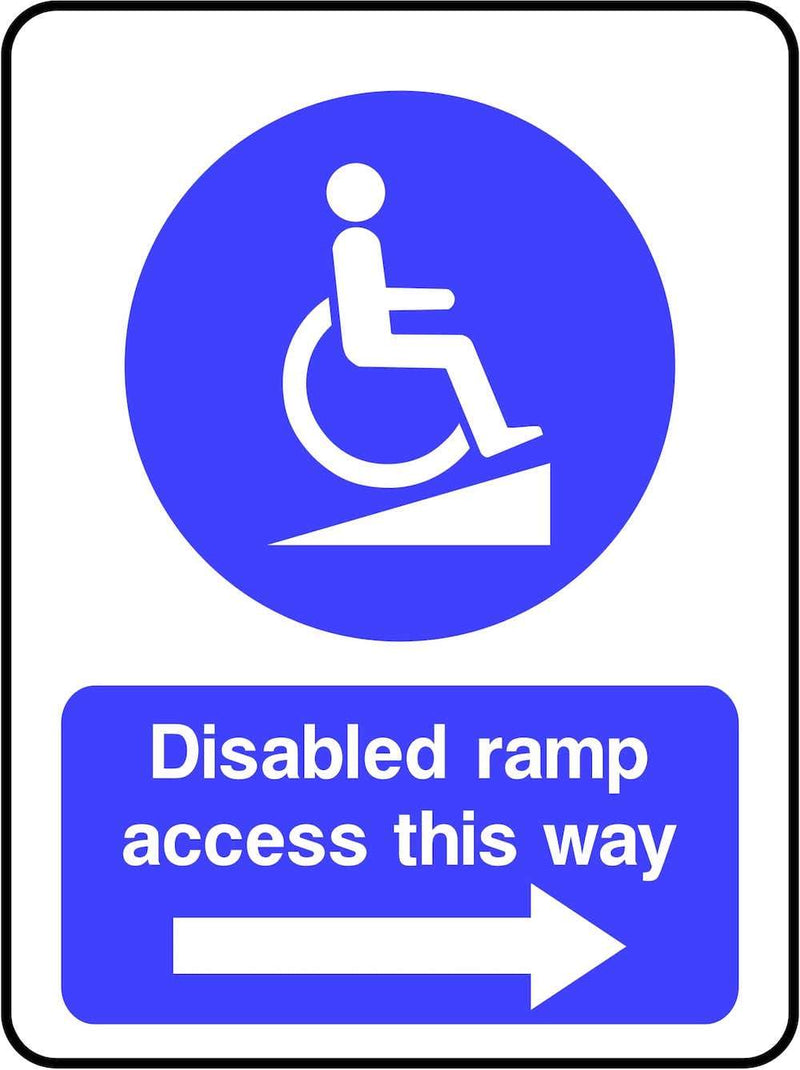 Disabled Ramp Access To The Right Sign | Elevate Signs