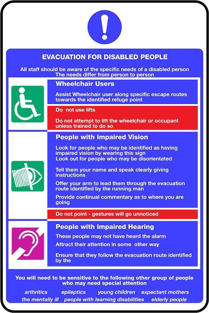 Disabled Evacuation Notice Sign | Elevate Signs