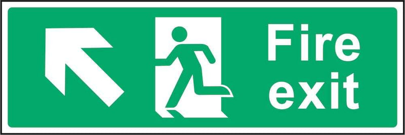 Fire Exit Sign: Forward, Left Arrow | Elevate Signs