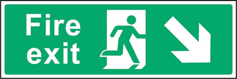 Fire Exit Sign: Backward, Right Arrow | Elevate Signs
