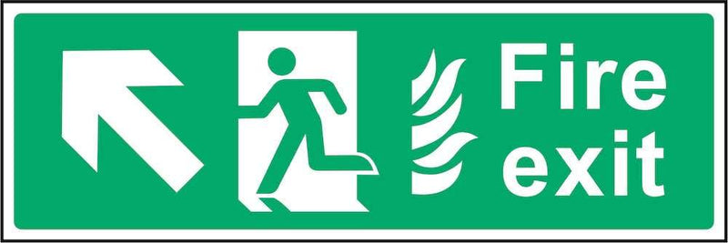 Fire Exit Sign: Forward, Left Arrow (Flames) | Elevate Signs
