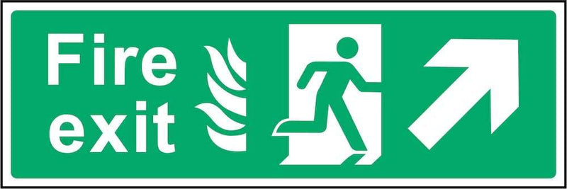 Fire Exit Sign: Forward, Right Arrow (Flames) | Elevate Signs