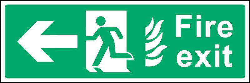 Fire Exit Sign: Left Arrow (Flames) | Elevate Signs