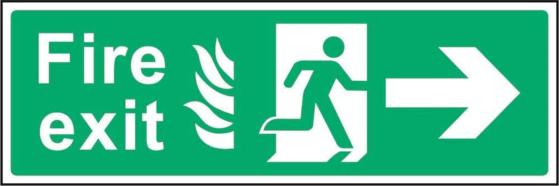 Fire Exit Sign: Right Arrow (Flames) | Elevate Signs