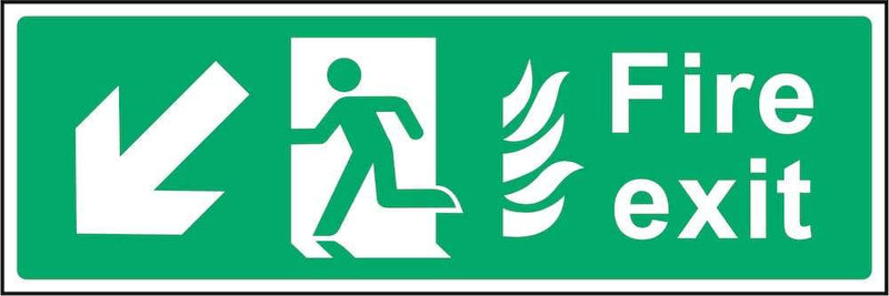 Fire Exit Sign: Backward, Left Arrow (Flames) | Elevate Signs